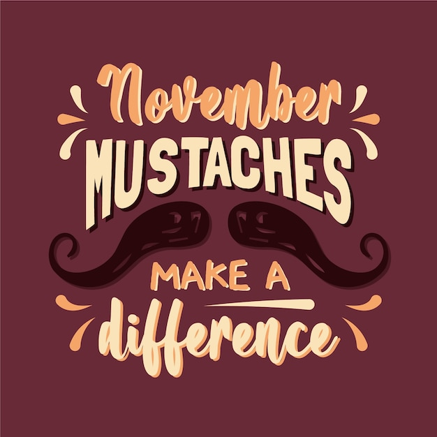 Happy movember mustache lettering background Free Vector
