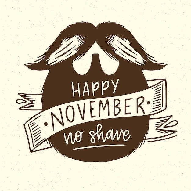 Happy movember с хипстерской бородой Бесплатные векторы