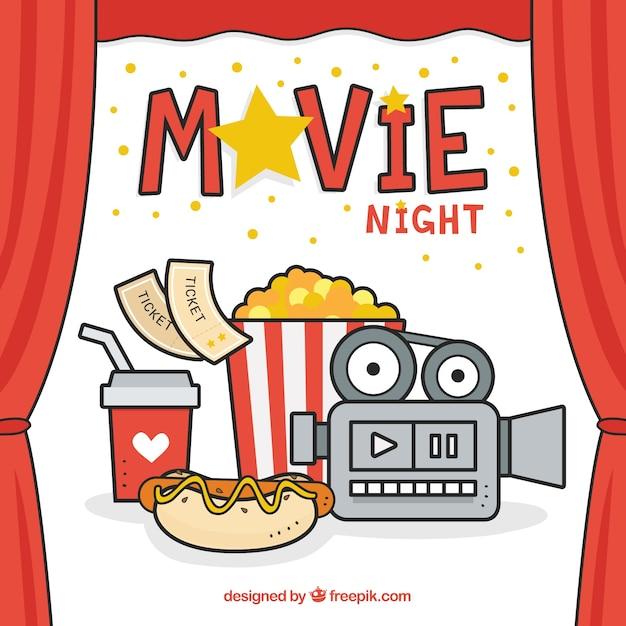 Happy Movie Night Vector Free Download