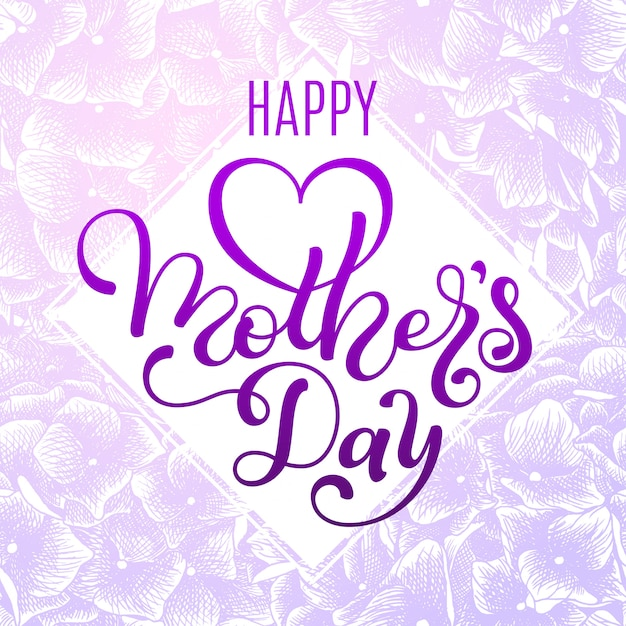 Happy moyher's day gift card with hand lettering mother's day Premium Vector