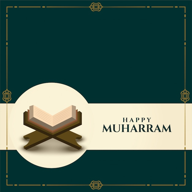 Счастливый мухаррам фон с книгой священного корана Бесплатные векторы