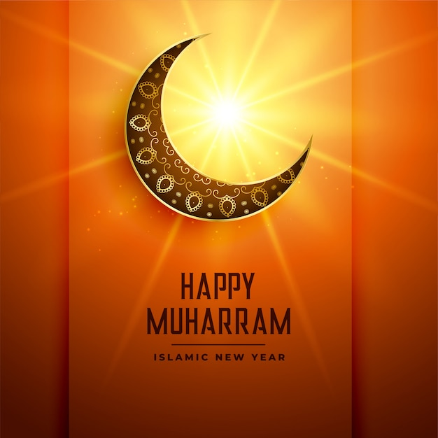 Happy muharram background with moon and glowing star Free Vector