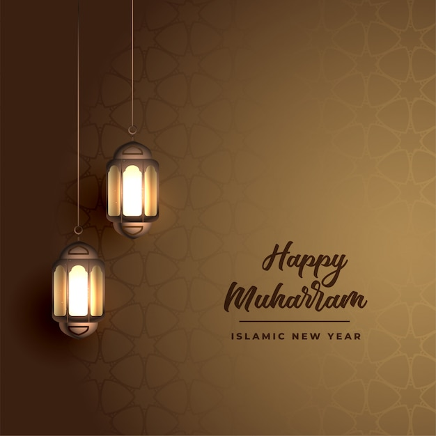 Happy muharram background with realistic arabic lanterns Free Vector