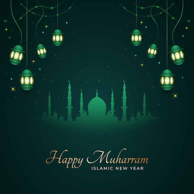 Happy muharram and islamic new year greeting card with silhouette of mosque Premium Vector