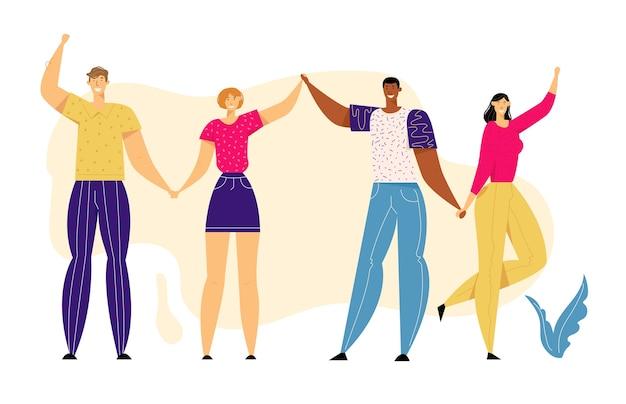 一緒に手をつないで幸せな多文化の人々。 Premiumベクター