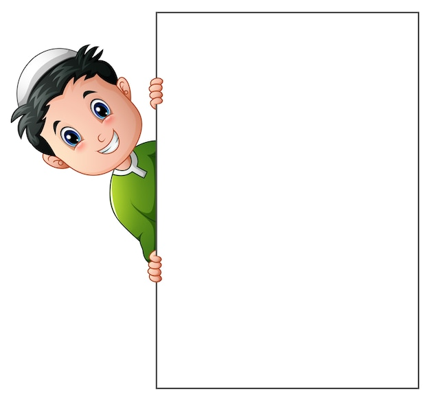 Happy muslim boy cartoon holding blank sign Premium Vector