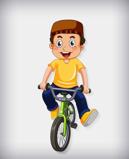 Счастливый мусульманский мальчик, езда на велосипеде Бесплатные векторы