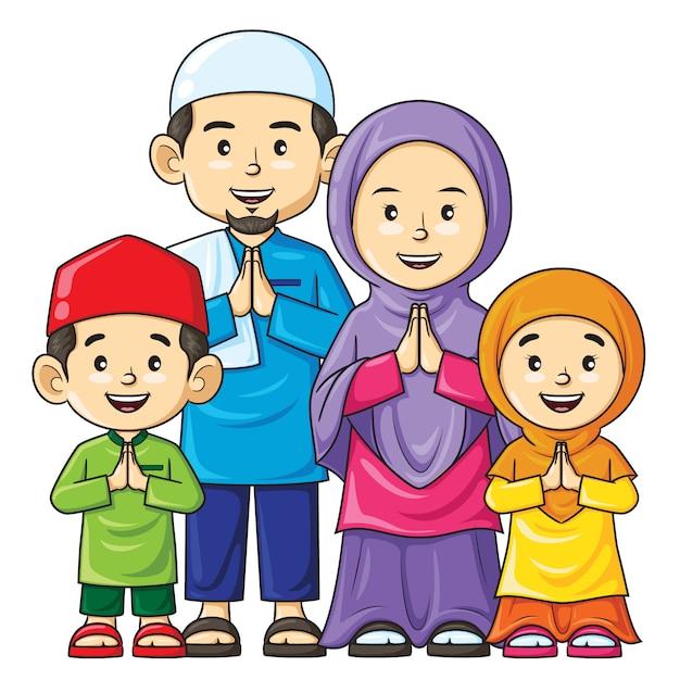 Счастливый мусульманский семейный мультфильм Premium векторы
