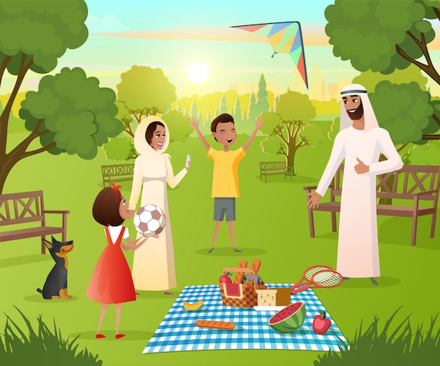 Happy muslim family on picnic in city park vector Premium Vector