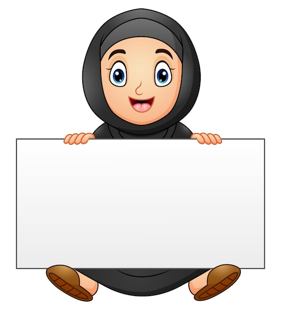 Happy muslim girl cartoon holding blank sign Premium Vector