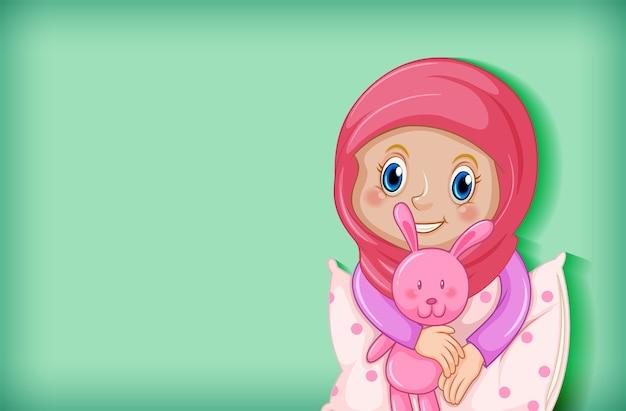 パジャマで幸せなイスラム教徒の少女 無料ベクター