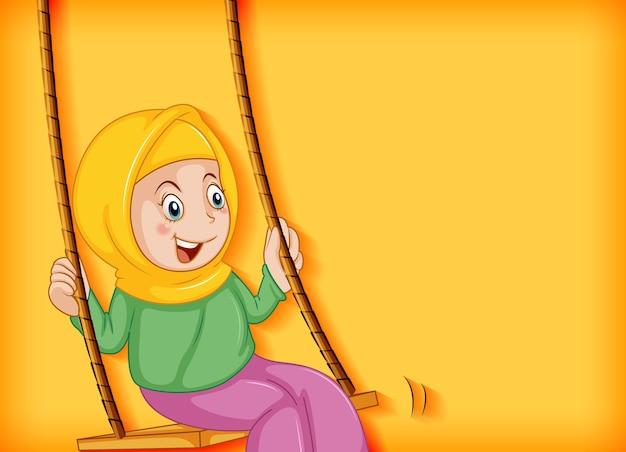 幸せなイスラム教徒の少女がブランコに座る 無料ベクター