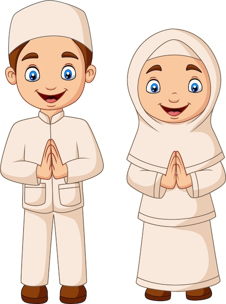 Happy muslim kid cartoon on white background Premium Vector