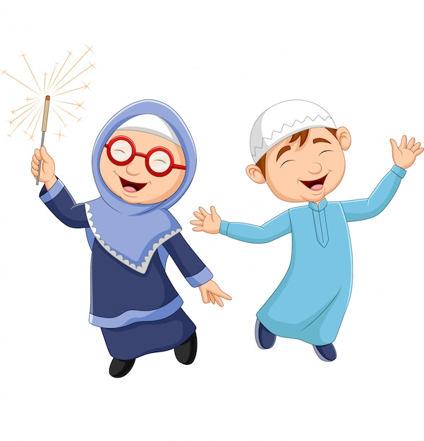 Happy muslim kid cartoon Premium Vector
