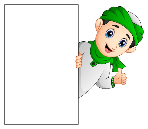 Happy muslim kid holding blank sign and giving thumb up Premium Vector