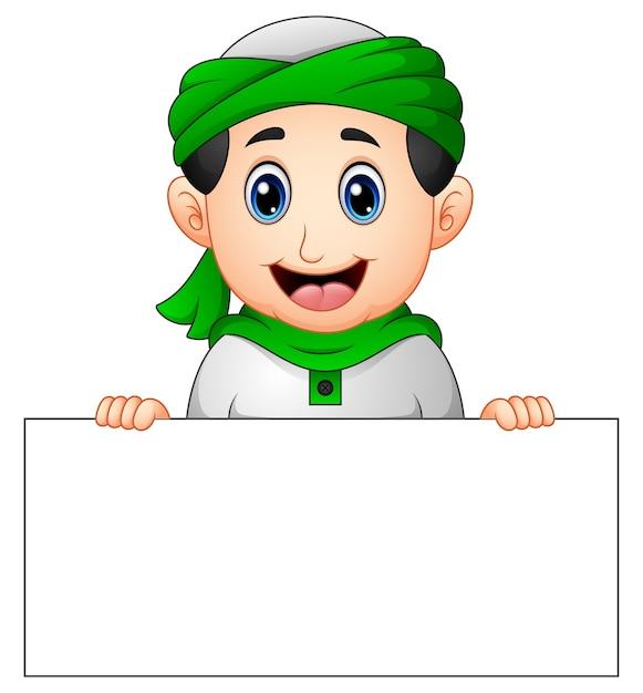 Happy muslim kid holding blank sign Premium Vector