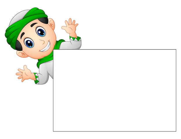 Happy muslim kid waving hand behind blank sign Premium Vector