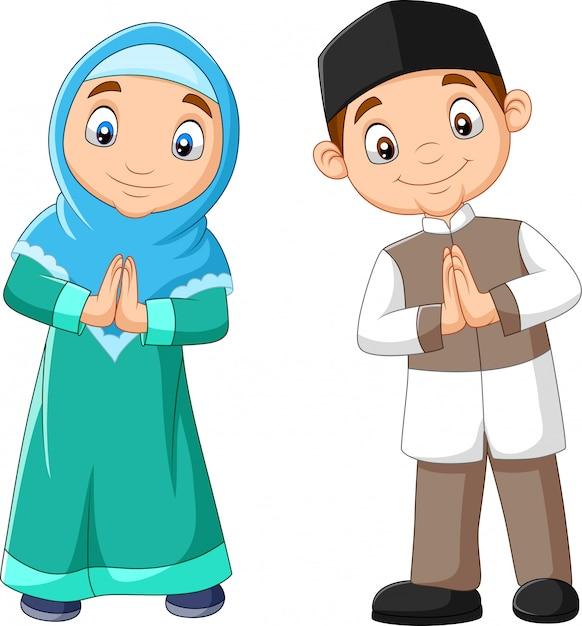 Happy muslim kids cartoon Premium Vector