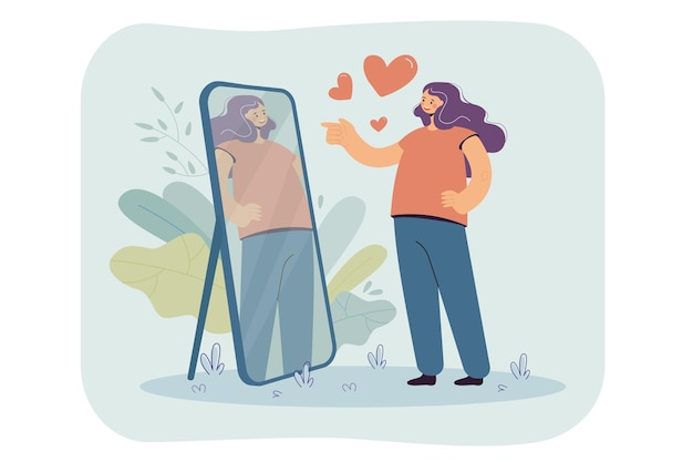 Happy narcissist girl looking at herself at mirror, admiring her beautiful reflection. cartoon illustration Free Vector