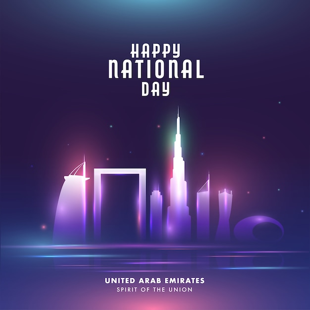 Плакат с празднованием национального дня со знаменитой архитектурой или памятниками и огнями Premium векторы
