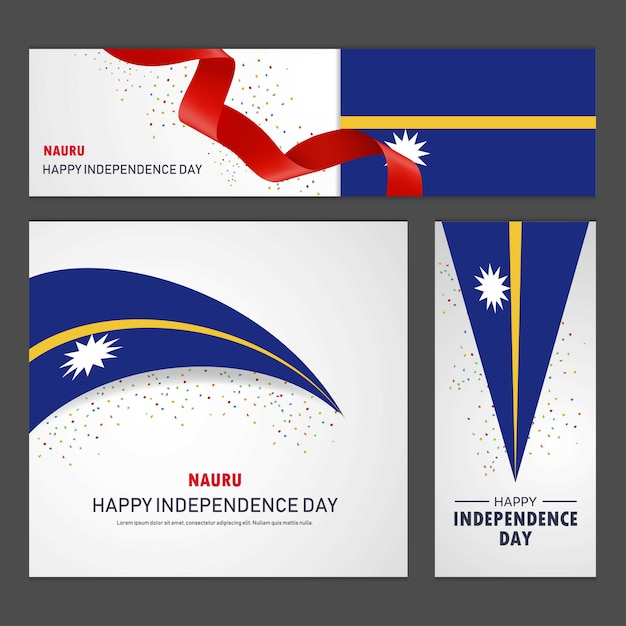 Happy nauru independence day banner and background set Free Vector