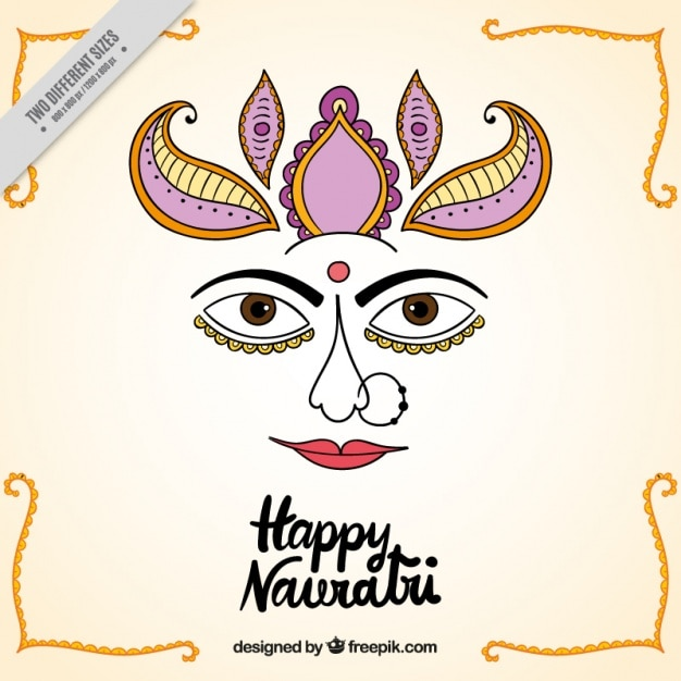 Happy navratri background with face of the\ durga goddess