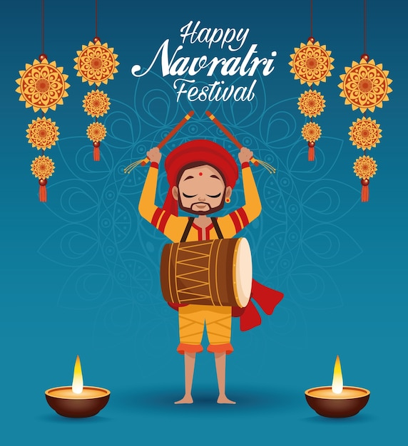Happy navratri celebration card lettering with man playing drum and candles Premium Vector