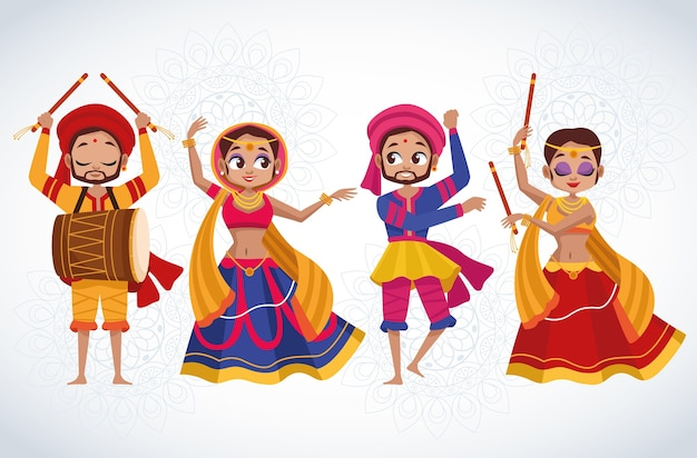 Happy navratri celebration card with group of dancers characters Premium Vector