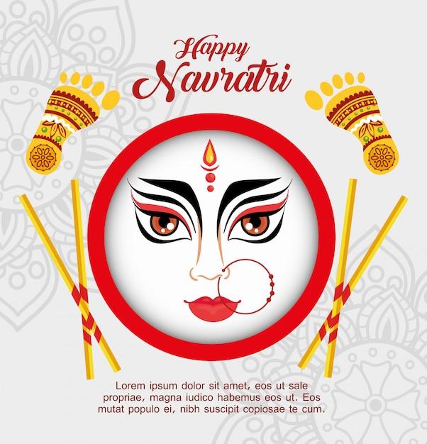 Happy navratri celebration poster with face durga Premium Vector