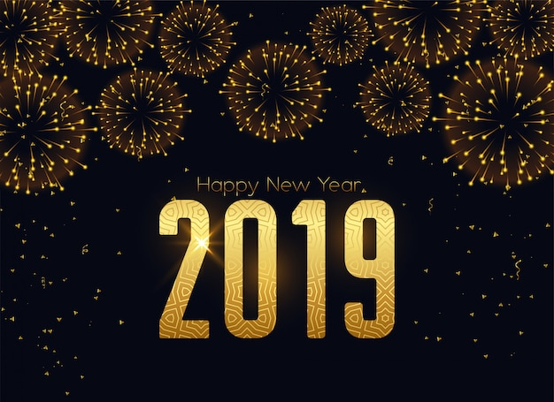 Happy new 2019 year fireworks celebration background Free Vector