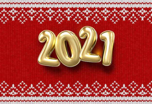 Happy new 2019 year. holiday   illustration of golden numbers 2021 on red knitted background with confetti. realistic sign. fabric with traditional ornament Premium Vector