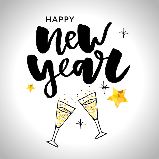 Happy new 2019 year. holiday illustration with lettering composition and burst Premium Vector