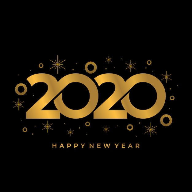 Happy new 2020 year background with gold colors Premium Vector