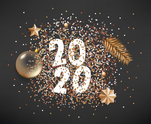 Happy new 2020 year different golden elements on black background Premium Vector