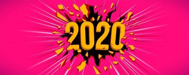 Happy new 2020 year greeting car Premium Vector