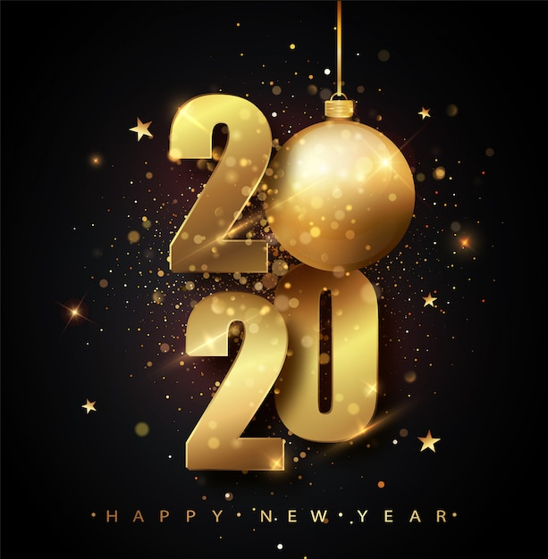 Happy new 2020 year. holiday   of golden metallic numbers 2020. gold numbers  of greeting card of falling shiny confetti. new year and christmas posters. Premium Vector