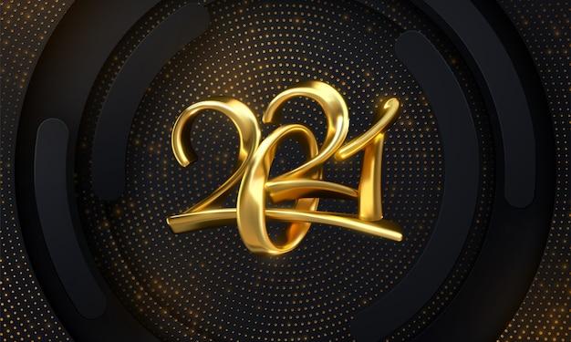 ハッピーニュー2021年。きらめくキラキラと織り目加工の黒い背景に金色の数字。 Premiumベクター
