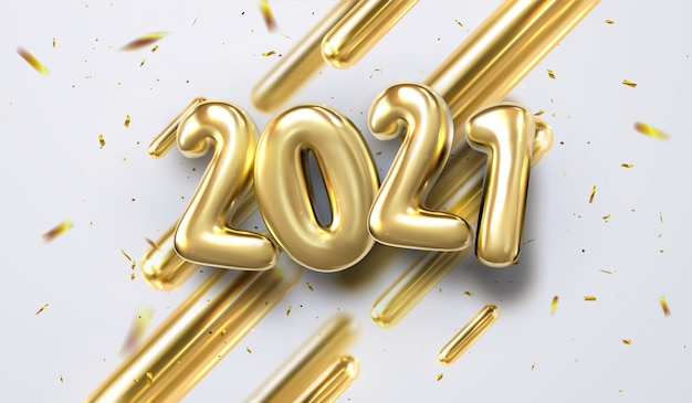 Happy new 2021 year.   holiday illustration of golden 3d geometric primitives and 2019 bubble numbers. festive sing with sparkling confetti glitters. trendy cover design Premium Vector