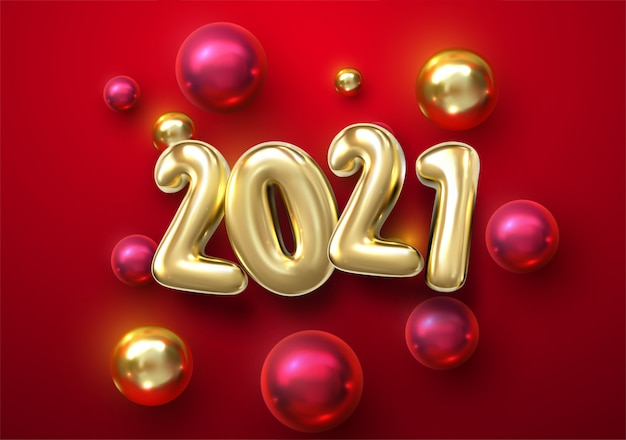 Premium Vector Happy New 2021 Year Holiday Illustration Of Golden Metallic Numbers 2021 With Christmas Balls Stars Realistic 3d Sign