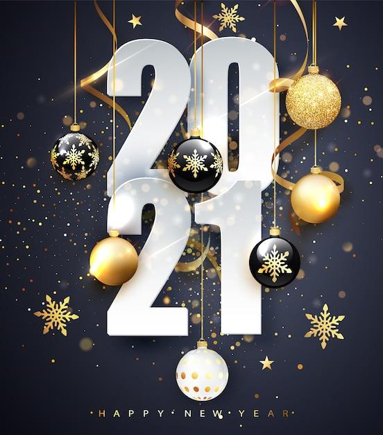 2021 년 새해 복 많이 받으세요. 숫자 2021의 휴일 그림입니다. 골드 숫자 인사말 카드의 디자인입니다. 프리미엄 벡터