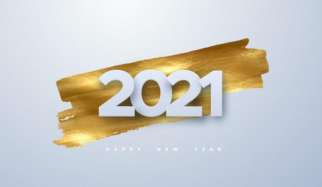 С новым 2021 годом. праздник иллюстрация бумаги вырезать номера на фоне золотой краской. баннер праздничного мероприятия. Premium векторы