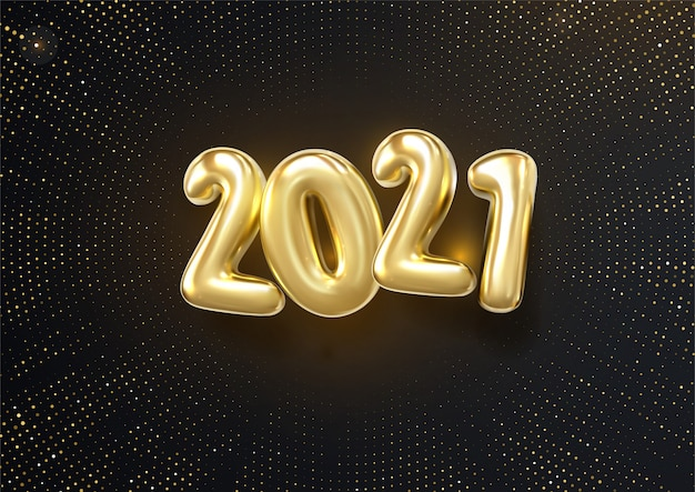 Happy new 2021 year. holiday   illustration of silver metallic numbers 2019 and glittering halftone pattern. realistic 3d sign. Premium Vector