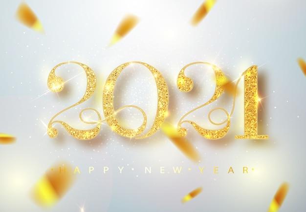 Felice anno nuovo 2021. illustrazione vettoriale di vacanza di numeri metallici dorati 2021 Vettore gratuito