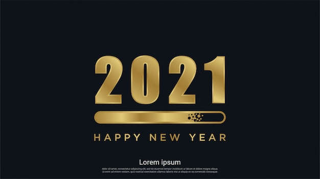 Happy new 2021 year with loading background Premium Vector