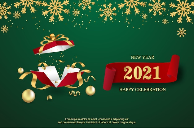 Happy new 2021 year with open gift box background. Premium Vector