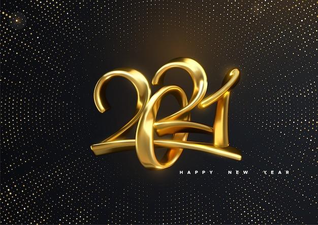Font chữ 3d năm 2021 màu vàng khối trên nền đen