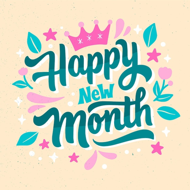 Happy new month lettering with hand drawn elements Free Vector