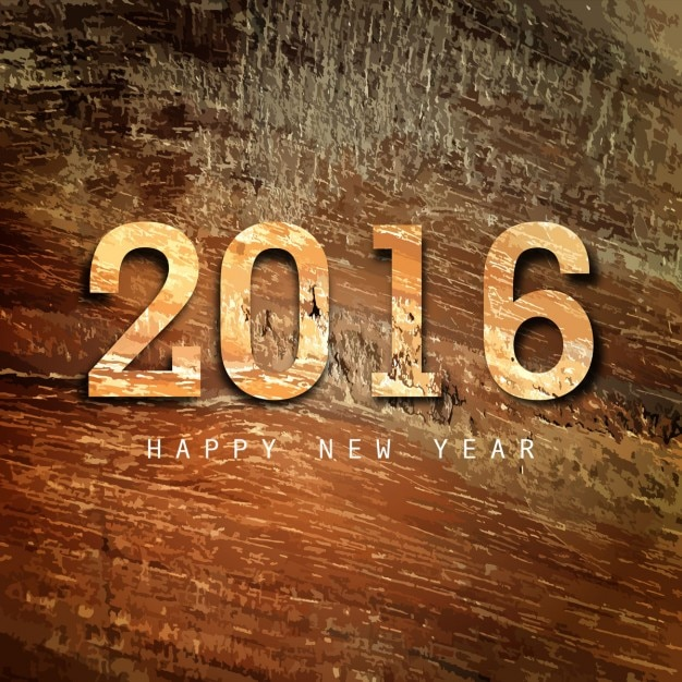 happy new year 2016 wood texture background free vector
