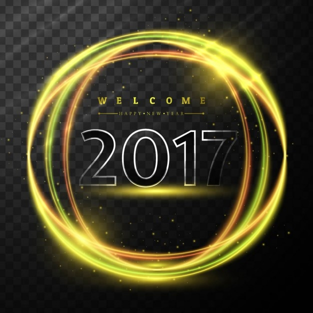 Happy new year 2017 background of shiny golden\ rings