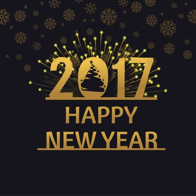 Happy new year 2017 golden vintage background Vector ...
